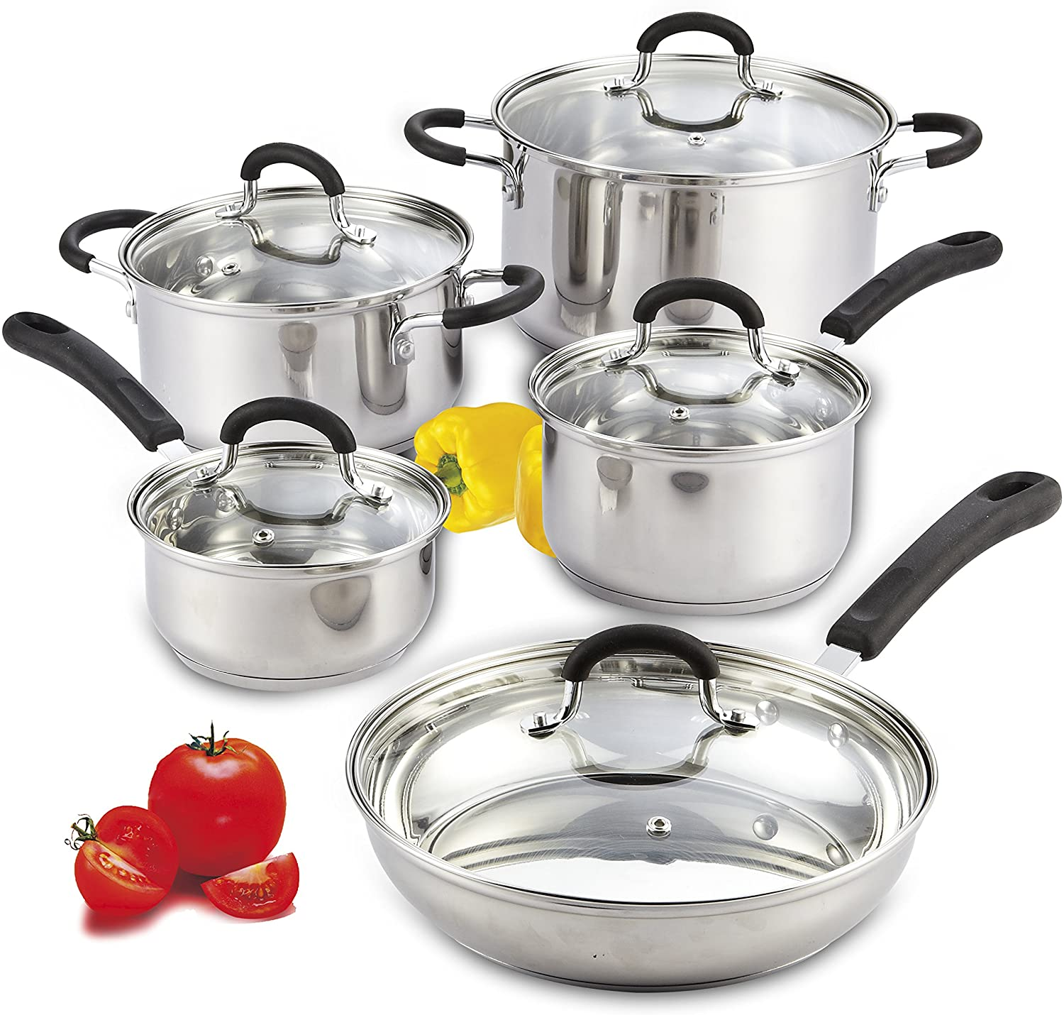 Cook N Home 10-Piece Stainless Steel Cookware for Glass Top Stoves
