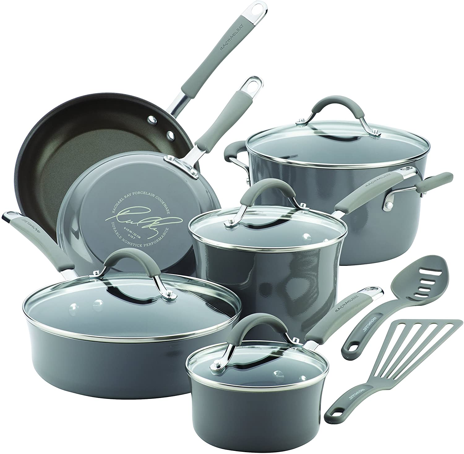 Rachael Ray Cucina Hard Porcelain Enamel Nonstick Cookware for Glass Top Stoves