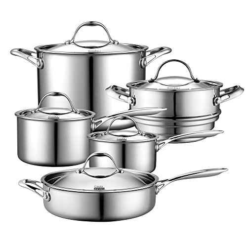 Cooks Standard Multi-Ply Clad Stainless-Steel 10-Piece Cookware Set Image